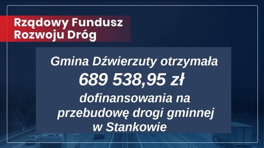 Otrzymaliśmy 689 538,95 zł dofinansowania na przebudowę drogi w Stankowie