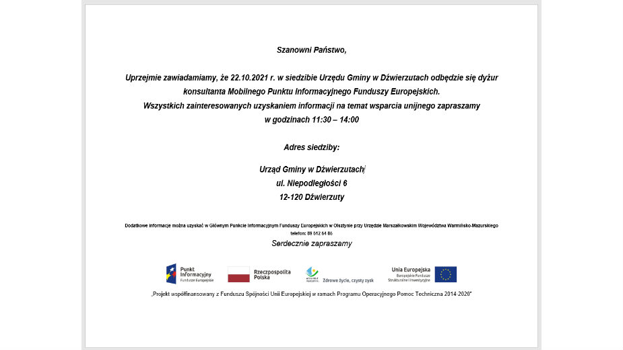 Dyżur konsultanta Mobilnego Punktu Informacyjnego Funduszy Europejskich